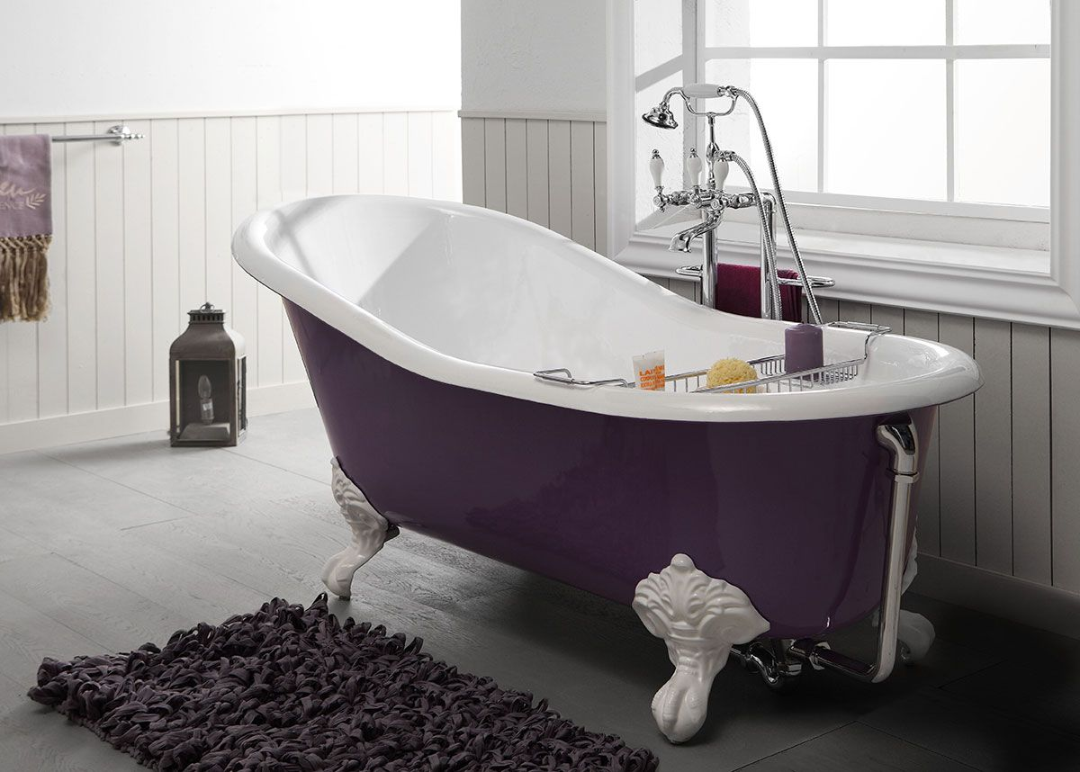 baignoire en fonte lavande 170cm couleur violette by bleu provence amsld r tro pinterest. Black Bedroom Furniture Sets. Home Design Ideas