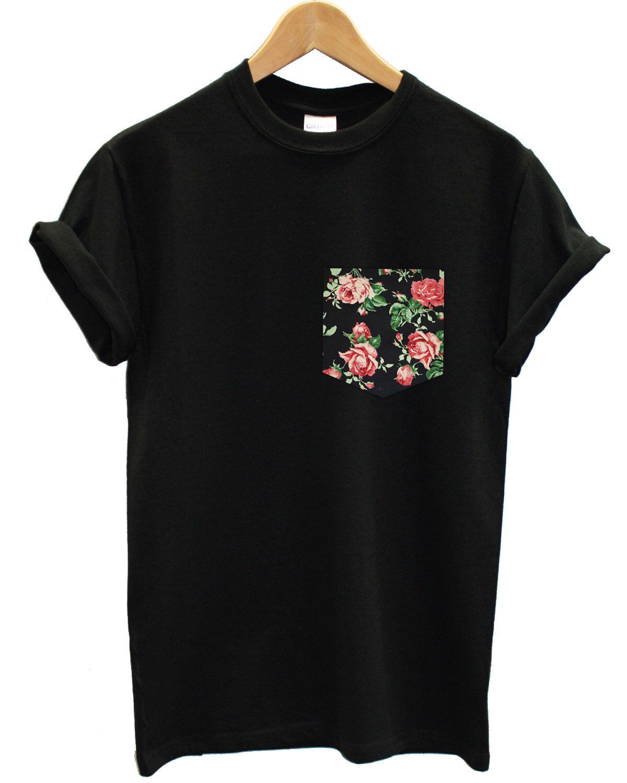 Real Stitched Red & Black Vintage Rose Floral Print Pocket T-shirt Hipster Indie…