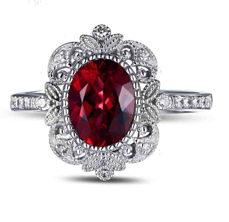 Angara Vintage Ruby Victorian Engagement Ring with Diamond in Platinum