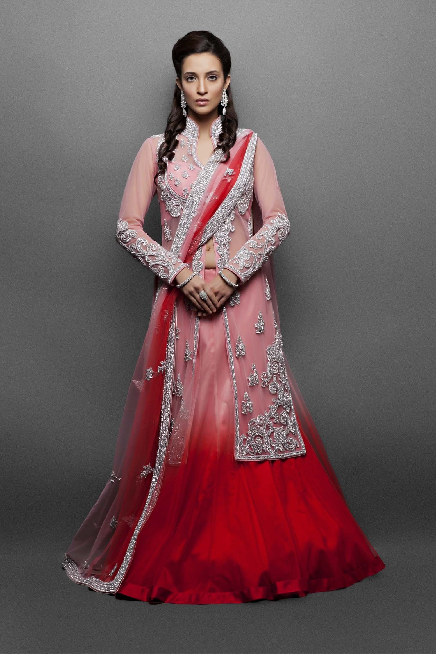 Pink u red shaded lehenga paired with a pink jacket clothes