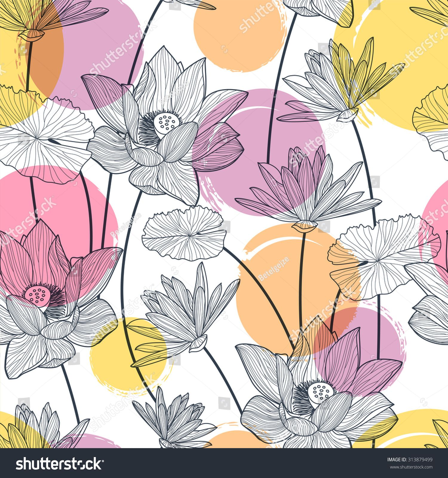 Vector seamless pattern with beautiful lotus flower and