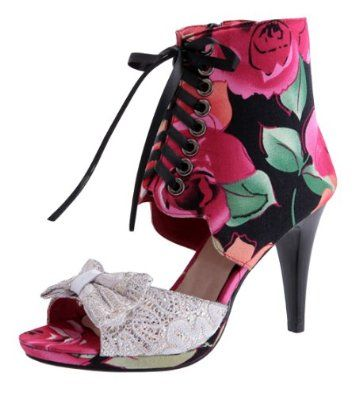 Women's Faux Leather Floral Print Peep Toe High Heel Ankle Boot Sandals