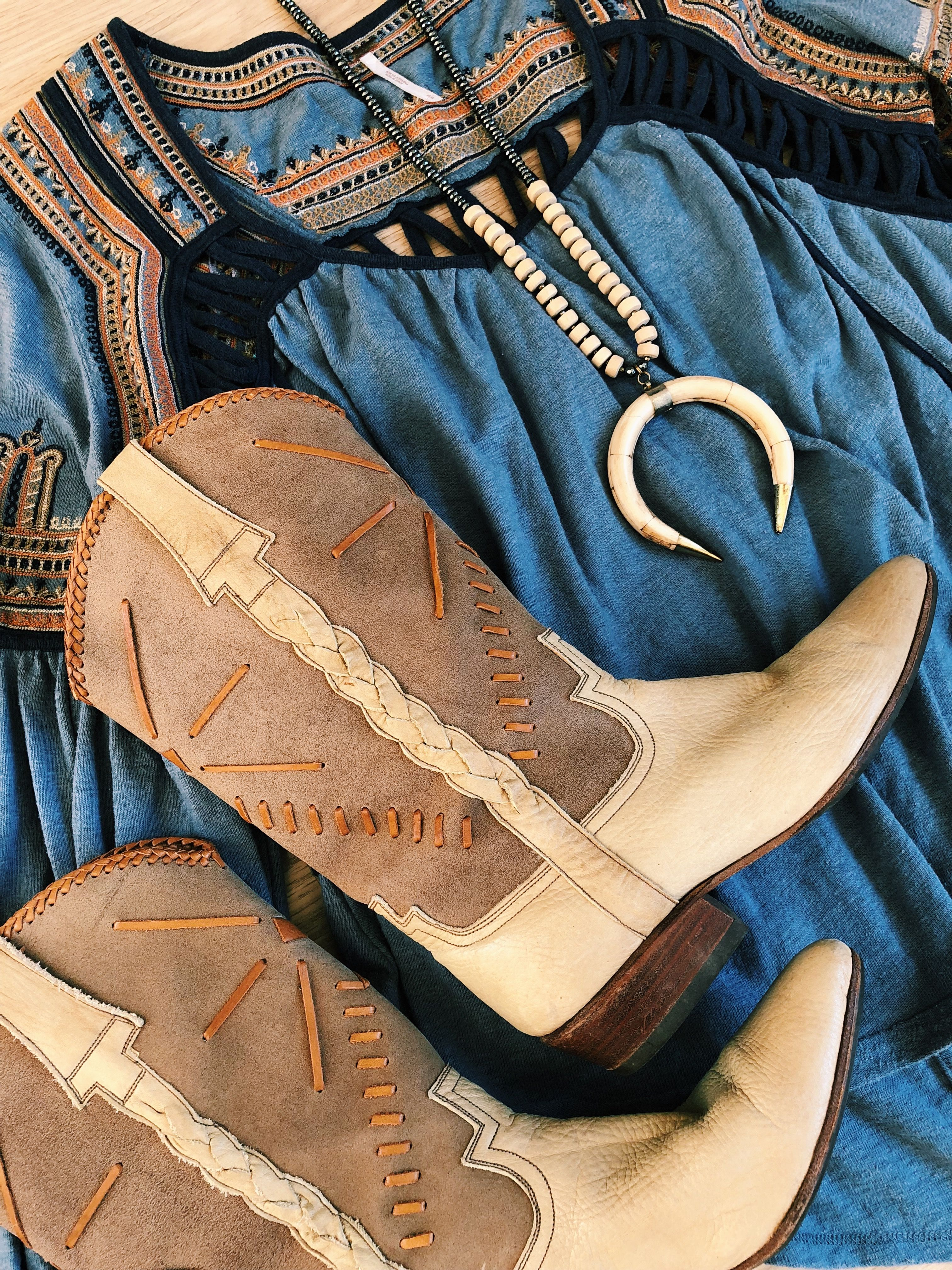 Miles to Magnolia. Vintage 80s Go West Leather Cowboy Boots. Wedding rustic  farm barn event. Boho bohemian hippie western summer style.