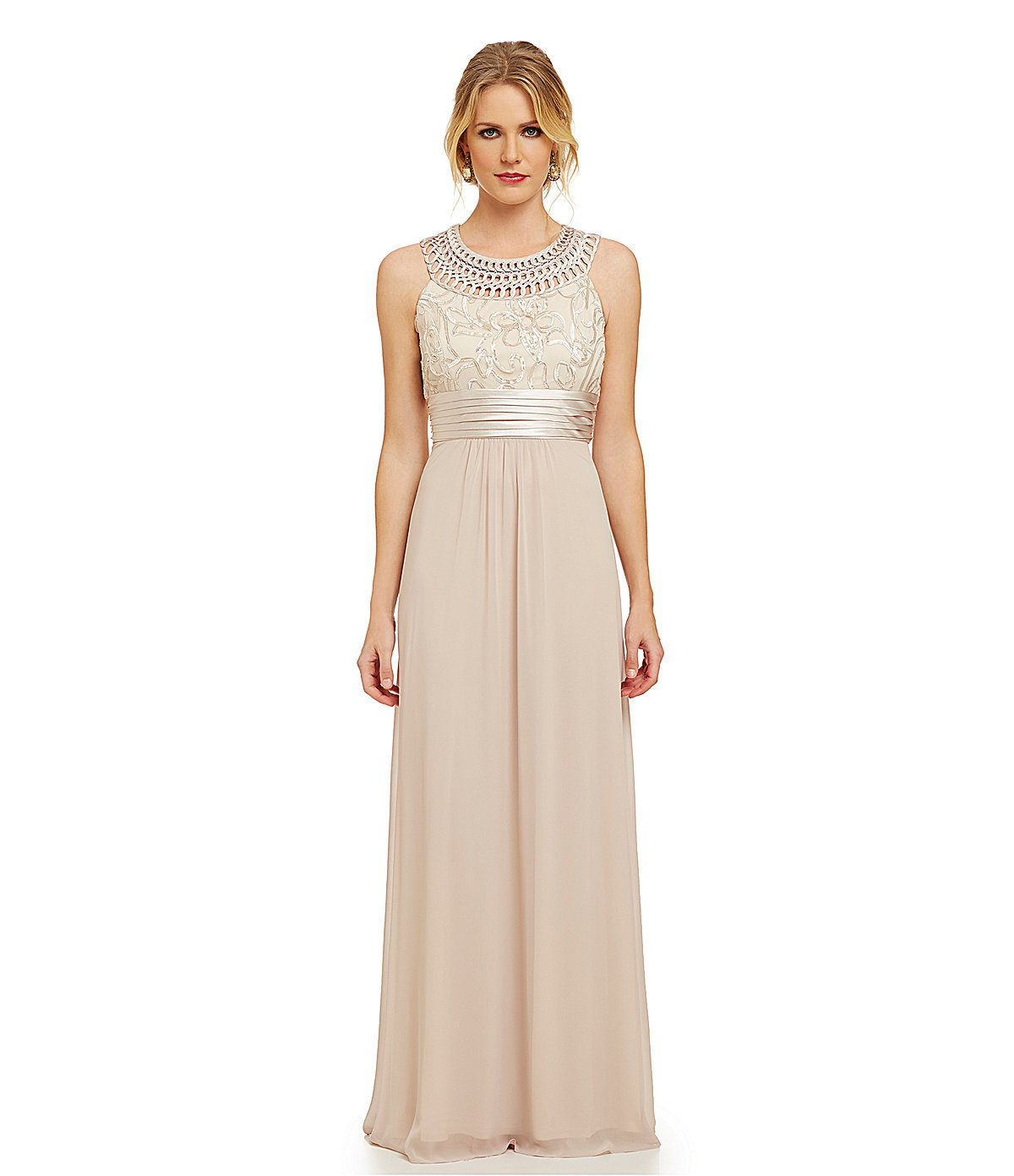 Jessica Howard Petite Floral-Embroidered A-Line Gown ...