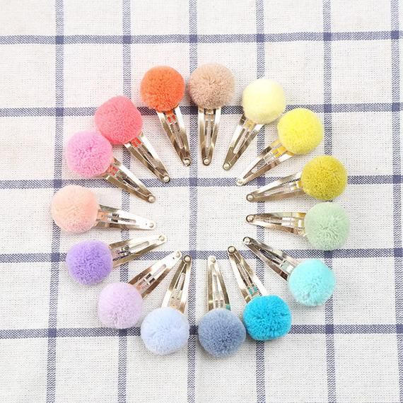 Choose any 4, Handmade pompom Hair Clip,2.5cm Pom pom snap clips,Pompom Hair Clips,Hair Accessoies,Hair Pins for baby kids girls,ribbonnkids #kidshairaccessories
