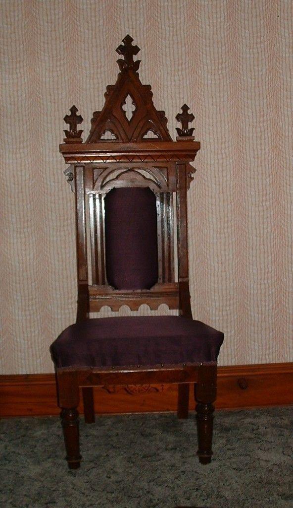 Antique Gothic Victorian Steeple Throne Chair Walnut 65 5