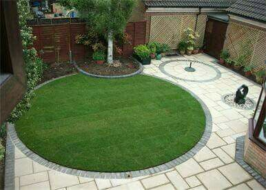 circular garden and paving design in cambridge - Garden Design Circular Lawns