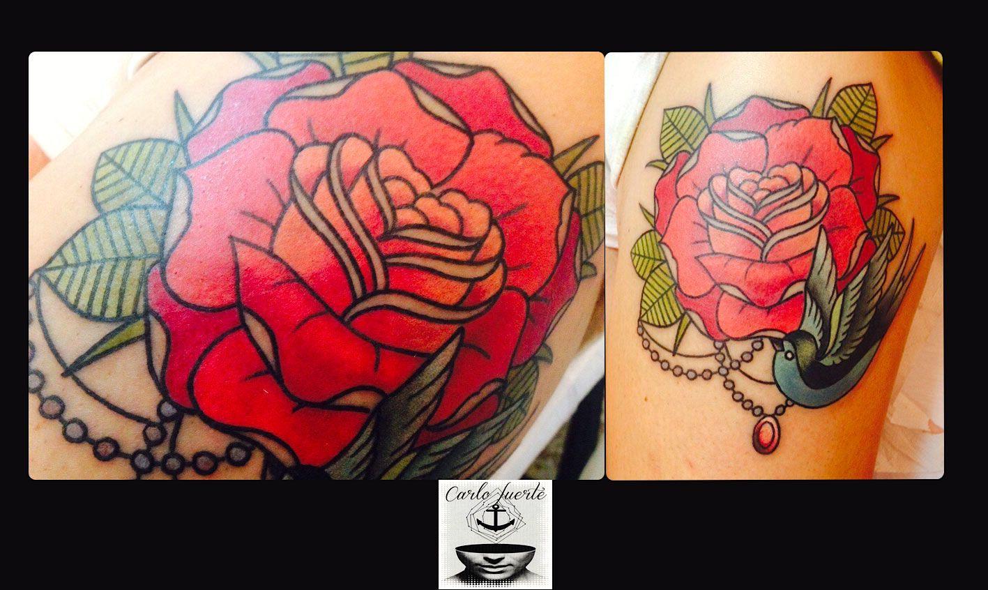 traditional tattoo #old school tattoo #rose tattoo #swallow tattoo #neo traditional tattoo  #fuerteventura tattoo #corralejo tattoo #carlofuertetattoo