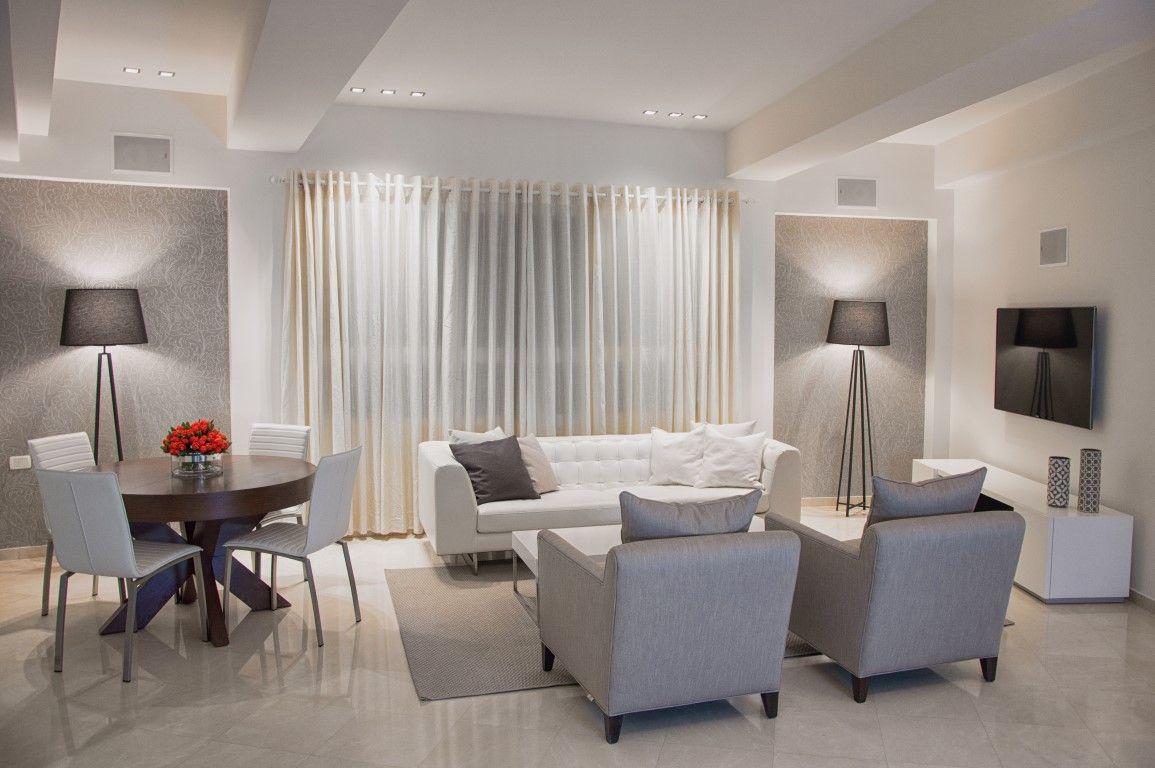 short term rental apartment, Isrotel towers, TLV   ITZIK ALBO living room view. #grey #beige #decor #lamp #wallpaper #curtains #itzik_albo #interior #design #home #living room #interior_design