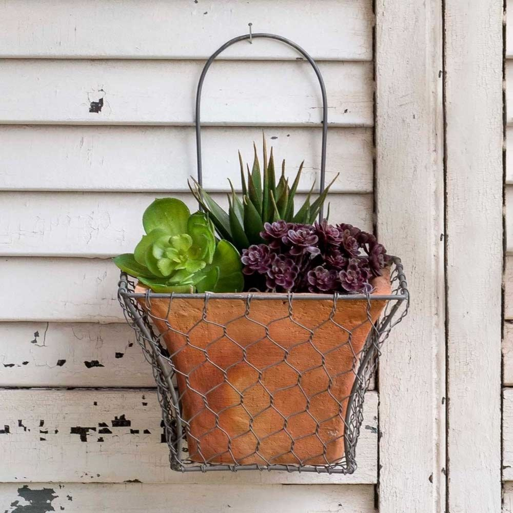 Square Chicken Wire Wall Planter Hanging Terra Cotta Pot Included Garden Decor Unbranded Planters Terracotta Pots Chicken Wire