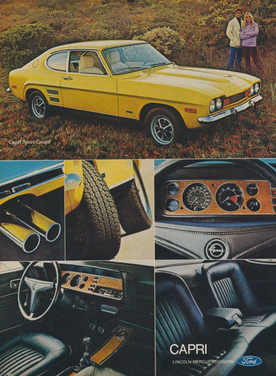 1972 Ford Sport Coupe Capri Car Ad Yellow Automobile Photo Vintage