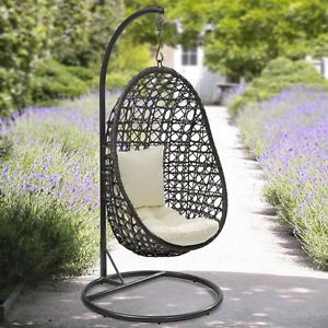Charming Suntime Cocoon Hanging Chair, Thick Cushion, Garden Swinging Wicker Egg  Chair Part 23