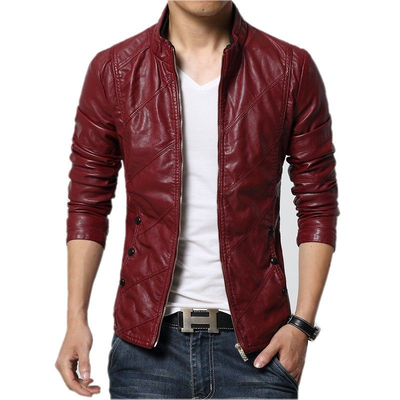 New Fashion Pu Leather Jacket Men Black Red Brown Solid Mens Faux