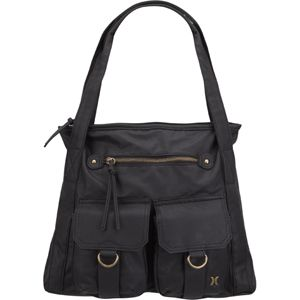 Hurley Cargo Handbag Faux Leather Exterior Zip Pocket At Front Patch Pockets