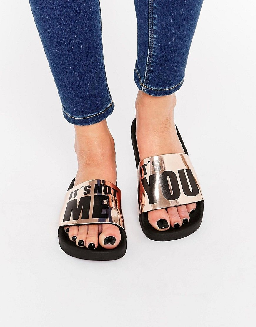 7b12cd458 TheWhiteBrand Bronze It s You Slider Flat Sandals