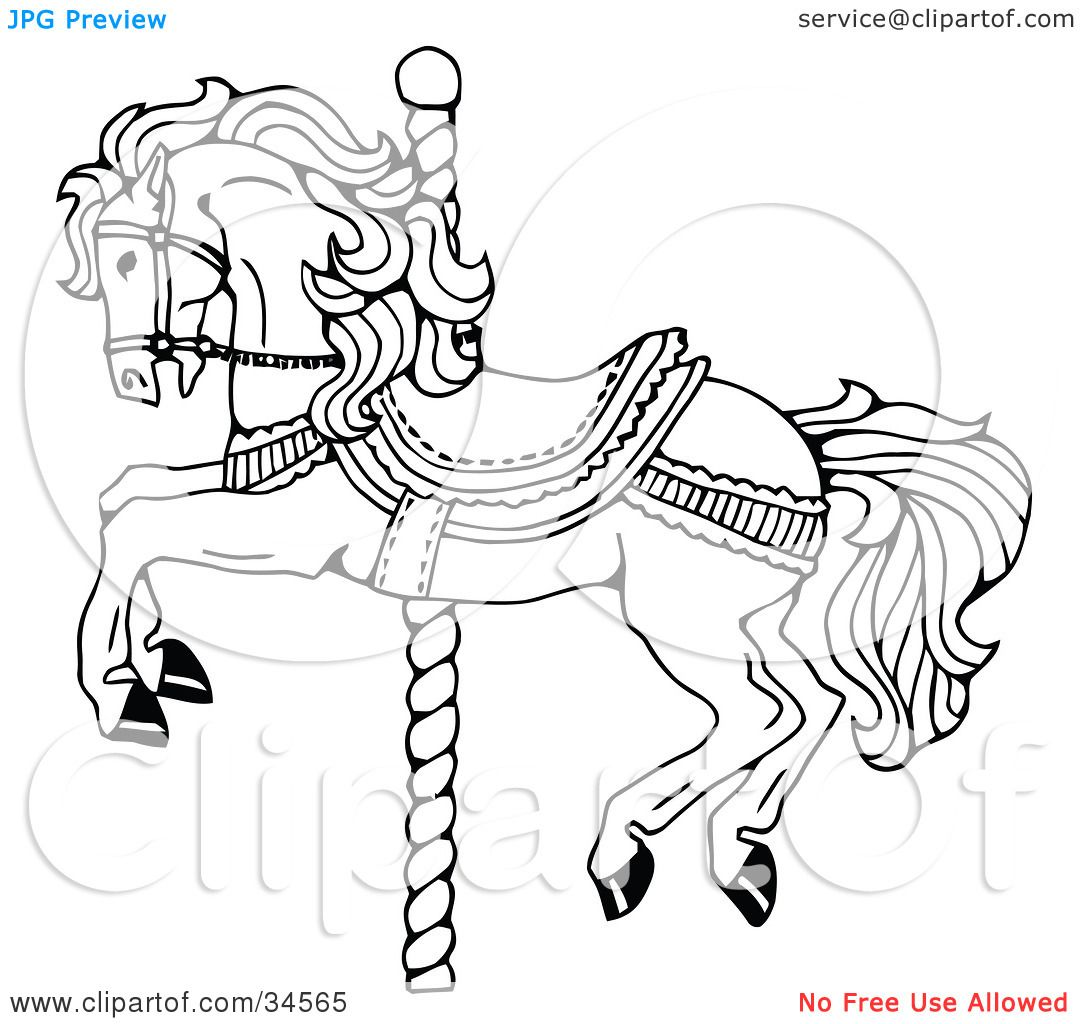 Clipart Illustration Of A Carousel Horse On Spiraling Pole By C Charley Franzwa