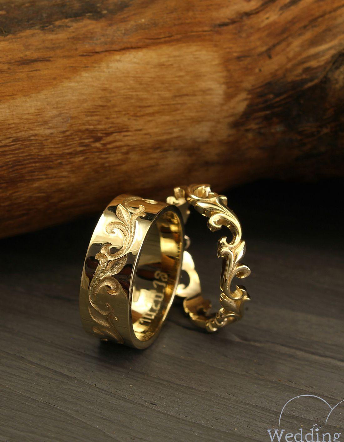 Unique matching wedding bands set, Vine wedding rings, His
