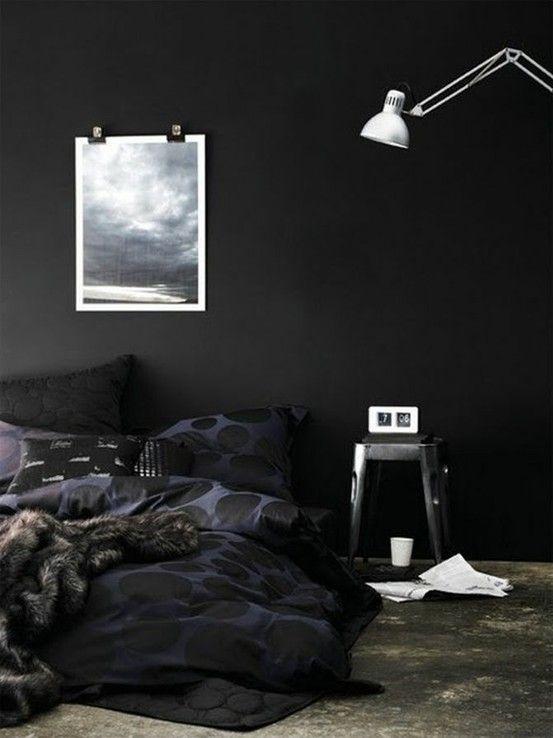 Pin Van Nate Op Interiors Zwarte Kamers Zwarte Slaapkamers Zwarte Muur