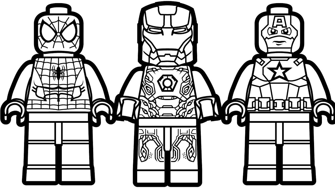 Lego Spiderman and Lego Iron Man & Lego Captain America Coloring ...
