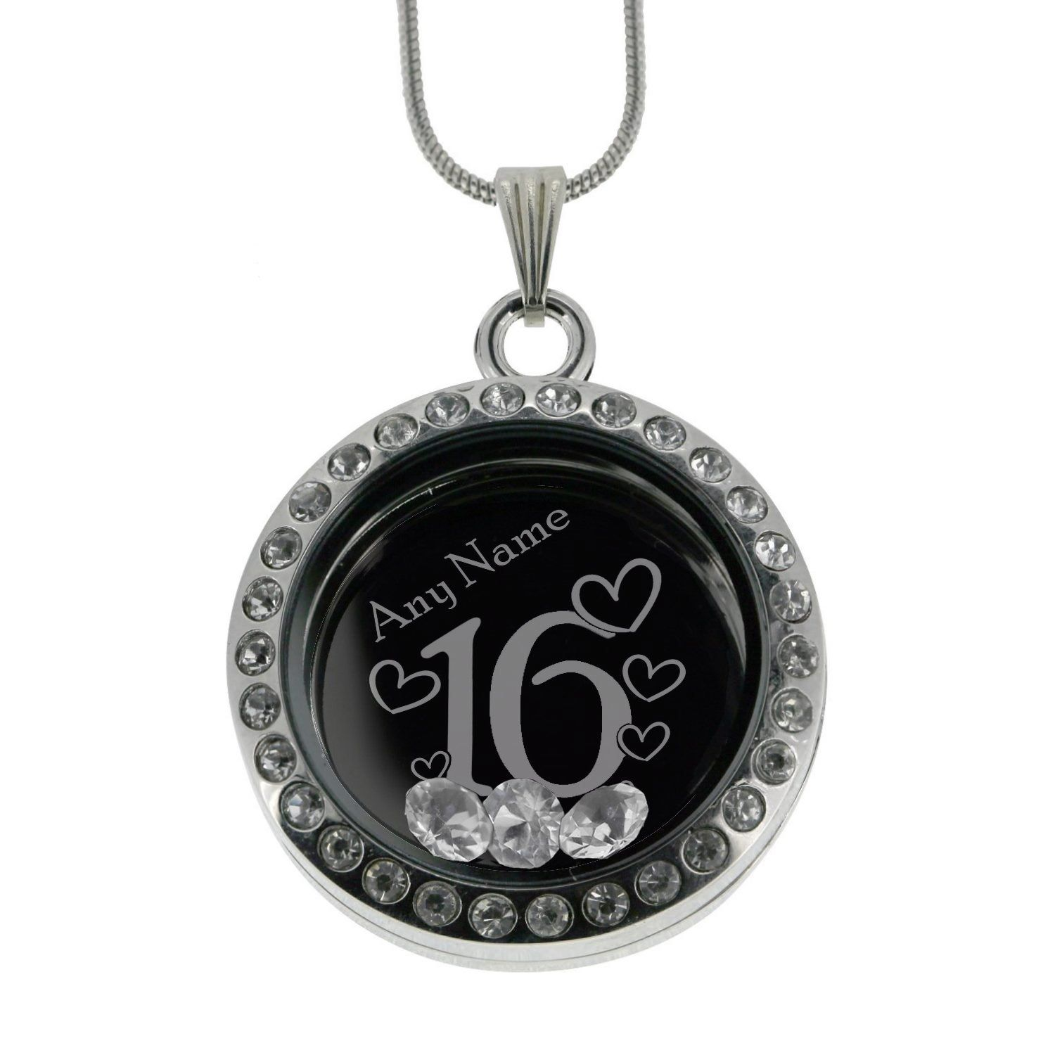 Personalised 16th Birthday Memory Locket Necklace Made With Crystals From Swarovski Gift Boxed Text Engraved wb85T