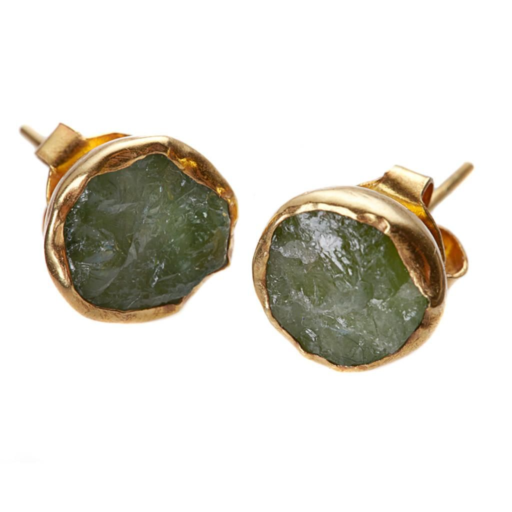 Far And Wide Collective Gold-plate Tourmaline Stud