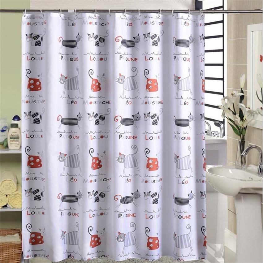 Cartoon Cat Shower Curtain Ocean Cortina Ducha Thick Waterproof Polyester Fabric Cloth Bath Curtains