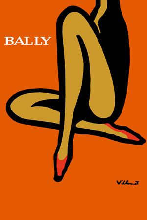 Vintage Bally Shoes Ad Giclee Art Print  This is a fine art giclee print of a vintage Bally Shoes ad / advertising poster by Villemont.