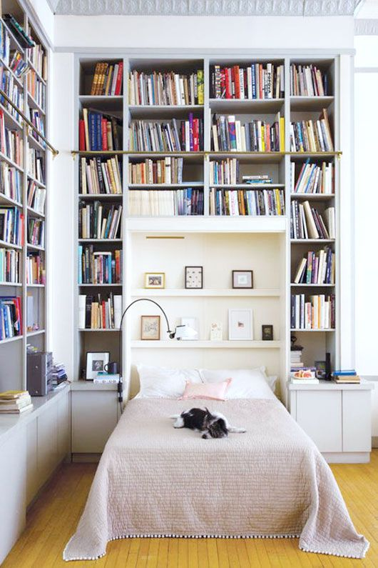 tiny house book storage inspiration u2014 floor to ceiling white built in shelves around the bed & tiny house book storage inspiration u2014 floor to ceiling white built ...