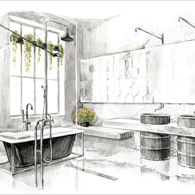 salle de bain dessin d 39 int rieur interiors pinterest salle de bains salle et int rieur. Black Bedroom Furniture Sets. Home Design Ideas