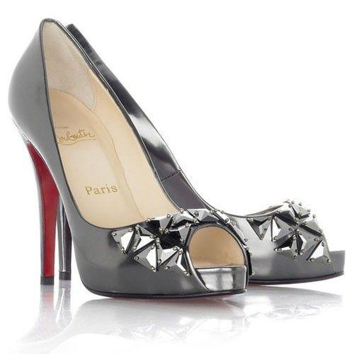 Chaussure Louboutin Pas Cher Chaussures Bling Bling Gris Métallisé1  #highheels