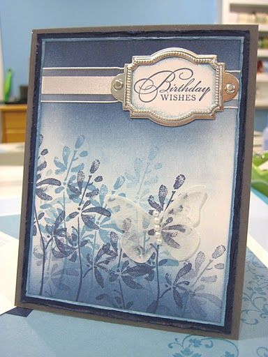 Blue Watercolor Stamps Watercolor Trio Cardstock Basic Grey