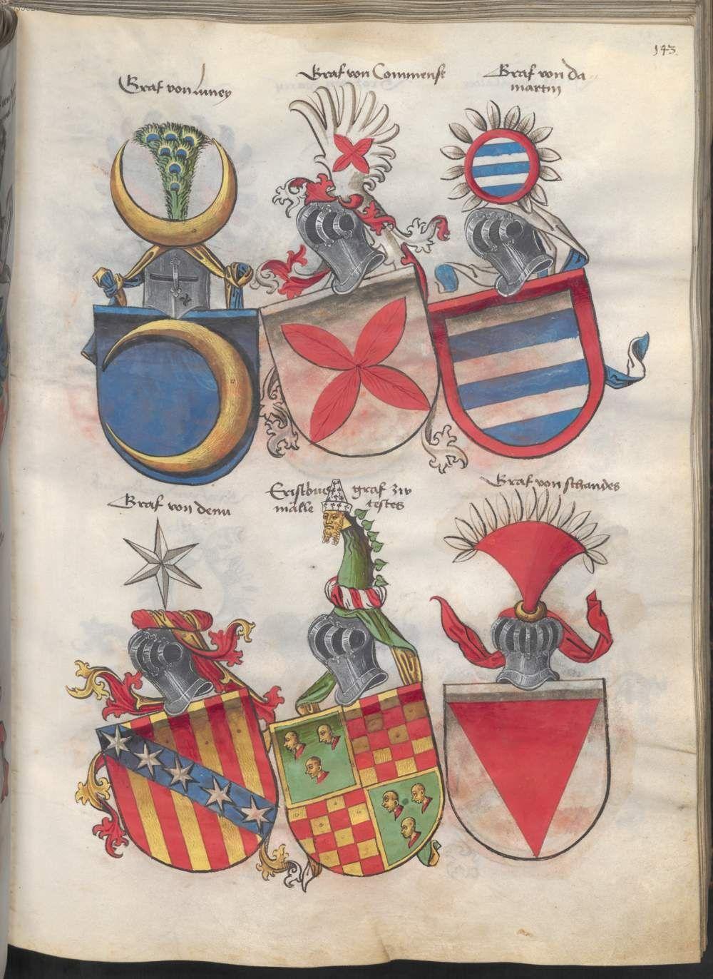 Grünenberg, Konrad: Das Wappenbuch Conrads von Grünenberg, Ritters und Bürgers zu Constanz um 1480 Cgm 145 Folio 148