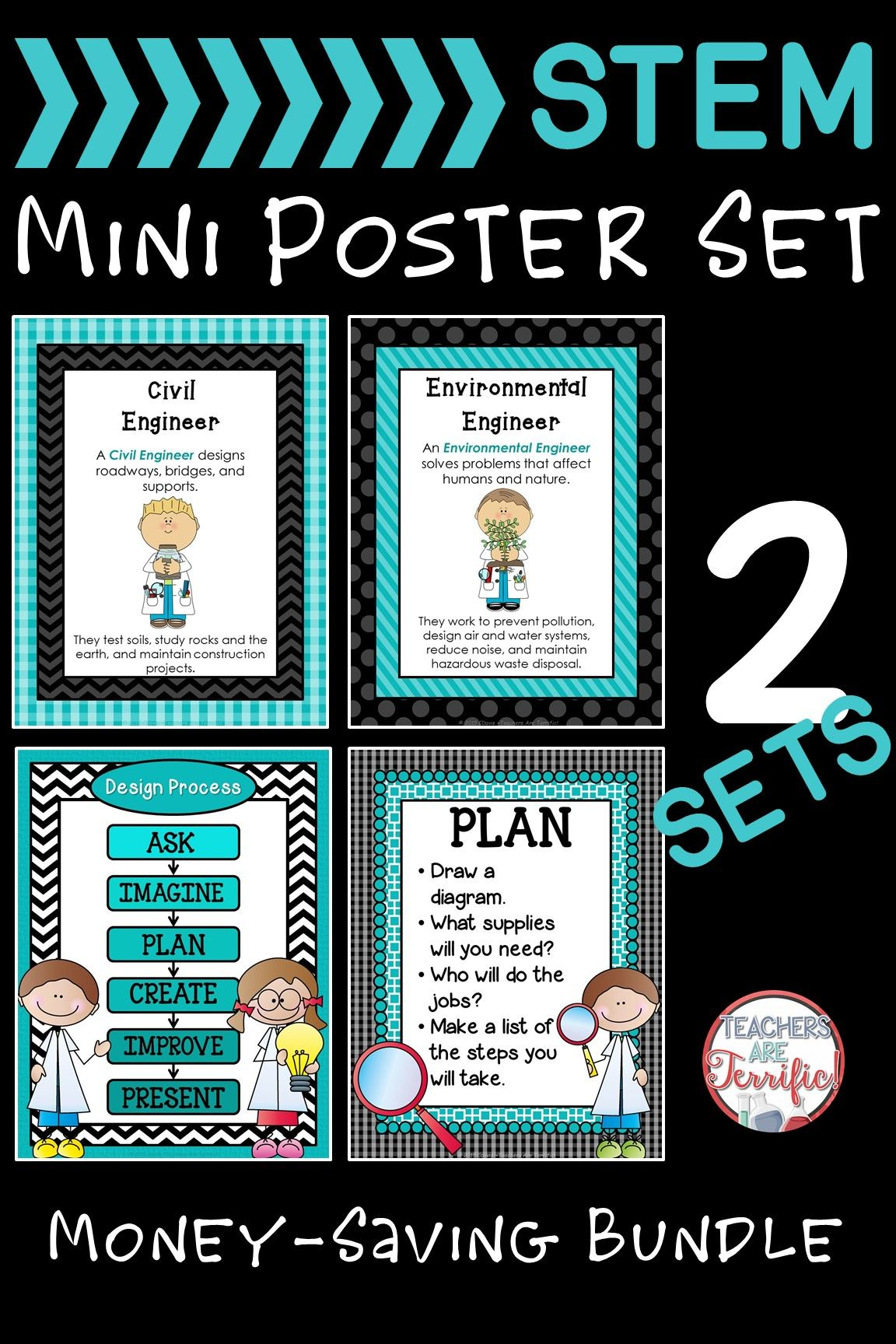 Featuring gorgeous colors of teal and combinations with black you will find two sets of posters all about STEM. One set includes the Engineering Design Process and one set includes Kinds of Engineers!