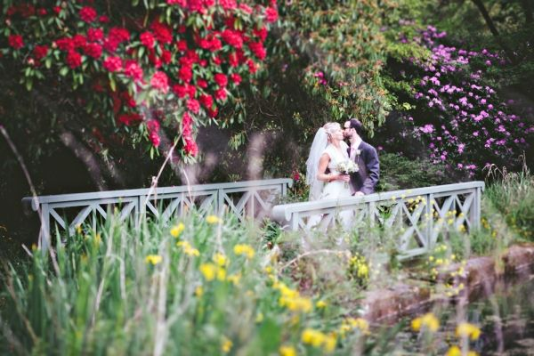 Bride and groom on the bridge...
