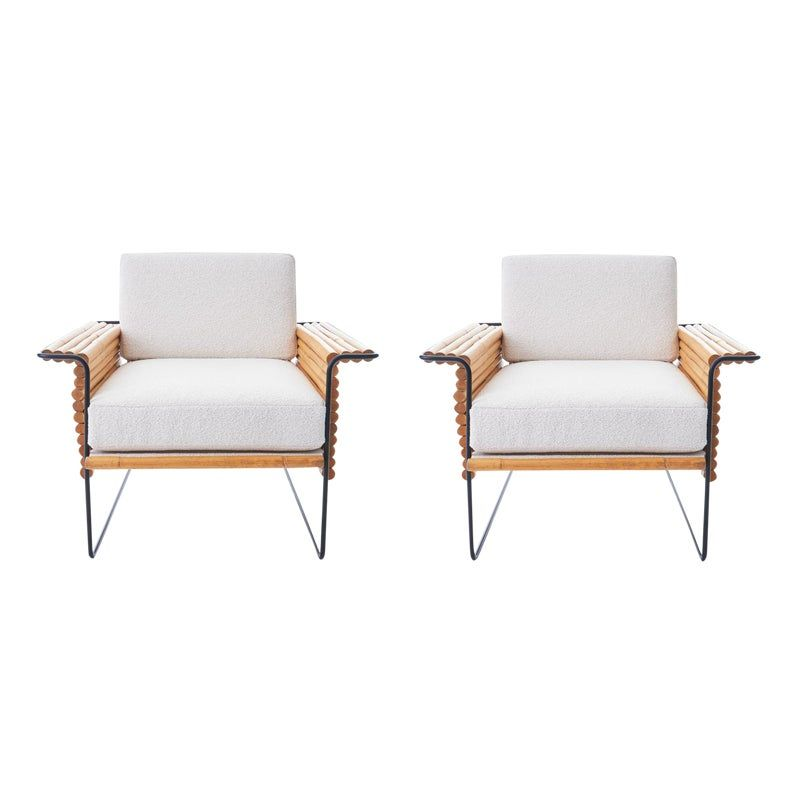 Wrought Iron And Bamboo Ski Club Chairs By Shirley Ritts A Pair