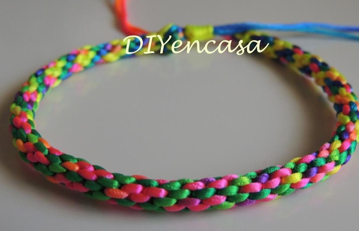 DIY pulsera kumihimo multicolor fluor con nudo corredizo. Bracelet Kumihimo…