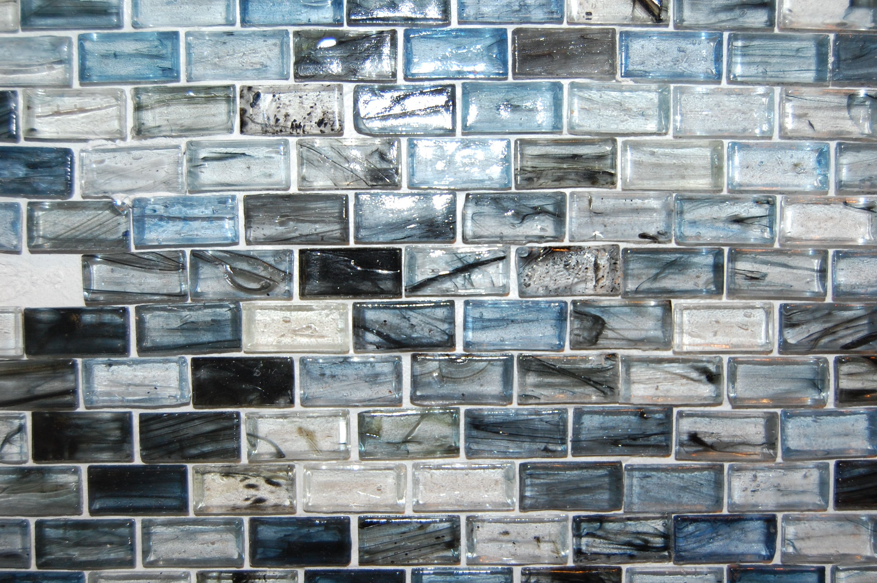 Our kitchen backsplash. Blue Twilight Glass Small Brick 12 x 12 in ...