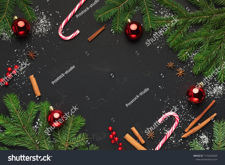 Christmas Background With Christmas Tree Branches And Candy Cane Sweets Christmas Tree Christmas Ba Christmas Tree Branches Christmas Background Christmas Tree