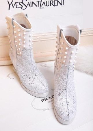 Cute White Studded boots