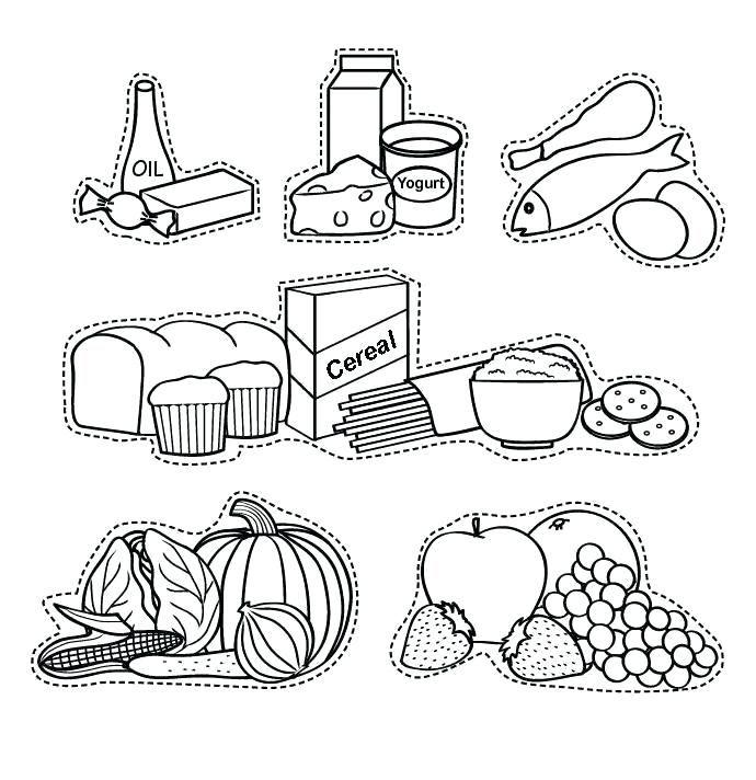 Alimentos Saludables Dibujos Para Colorear