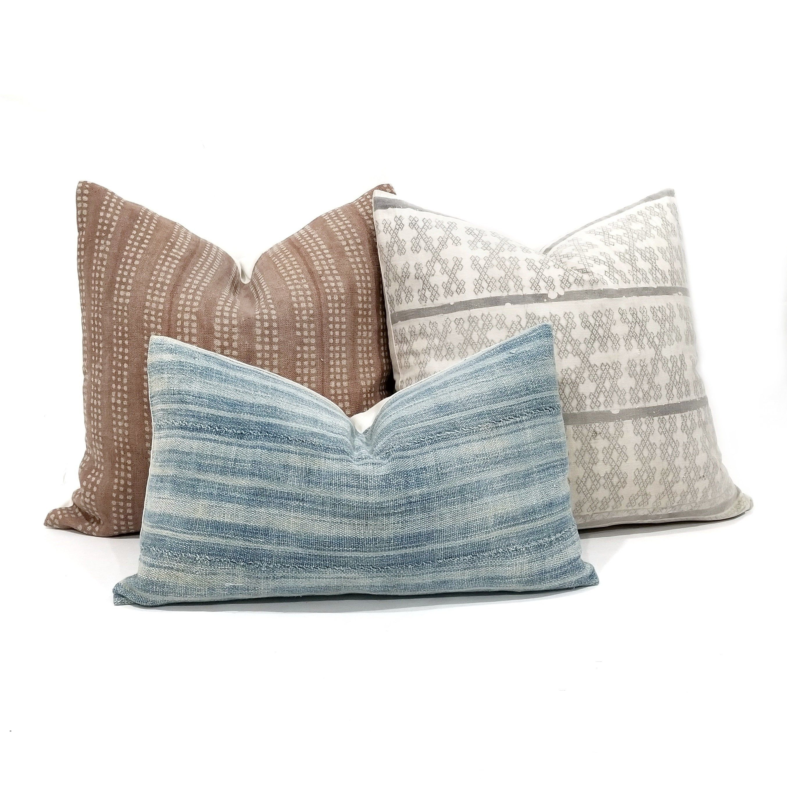block printed linen pillow cover