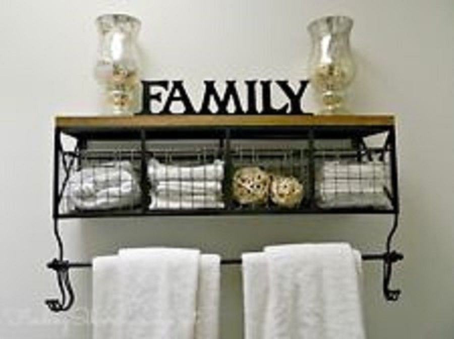 32 Black Metal Wood Shelf With Baskets 8 Hooks Country Chic Home Wall Decor Unbranded