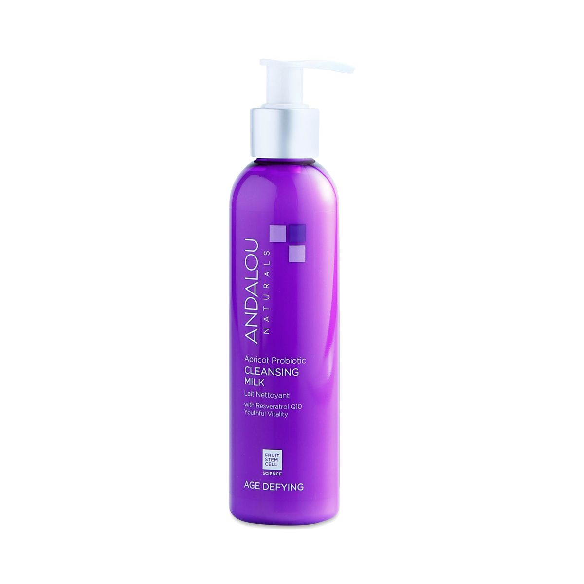 Dry skin will soak up Andalou Naturals Cleansing Milk, fortified with fruit stem cells, CoQ10, and skin-safe probiotics. Use morning and night.