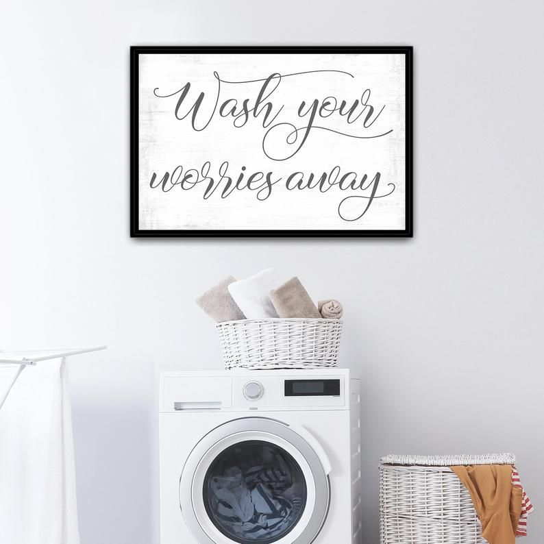 Wash Your Worries Away Sign Etsy Etsy Wall Art Laundry Room Wall Decor Name Wall Art