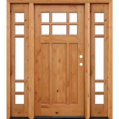 Pacific Entries 72 In X 80 In Craftsman Rustic 6 Lite Stained Knotty Alder Wood Prehung Front Door With 12 In Sidelites A36r412 Wood Entry Doors Wood Front Doors Wood Doors Interior