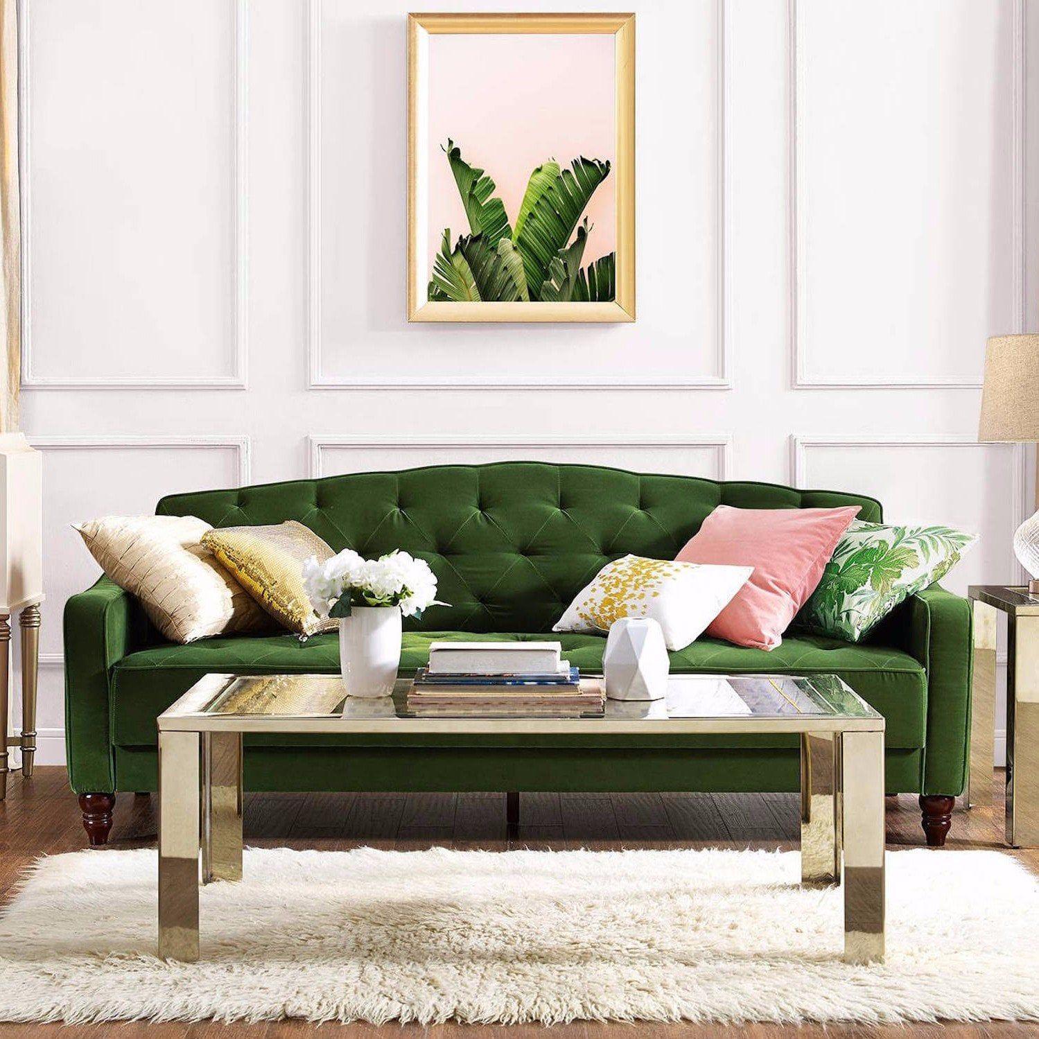 Novogratz Vintage Tufted Sofa Sleeper Ii Velvet Couch Green