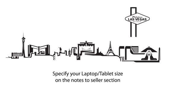 Las vegas skyline sticker decal laptop decal ipad laptop for Las vegas skyline tattoo