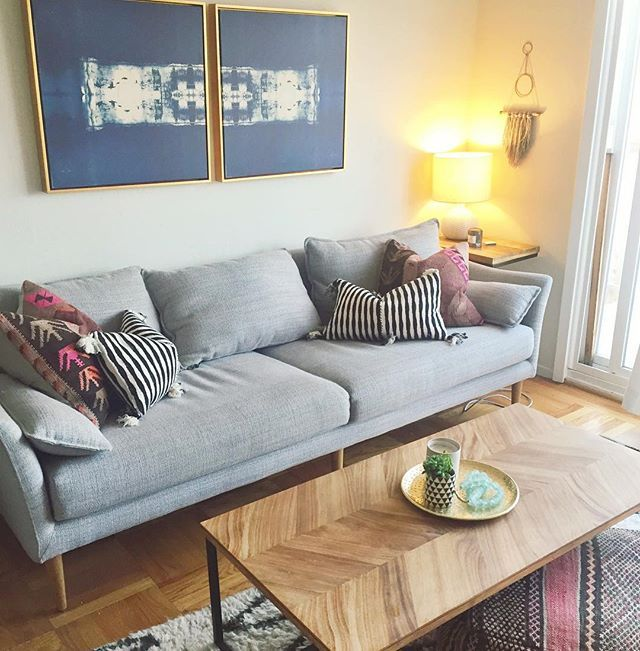 Bohemian Eclectic Living Room // West Elm Antwerp Sofa, Benson Cobb  Artwork, Kilim