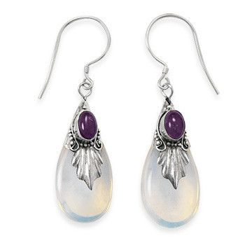 Glass and Amethyst Drop Earrings