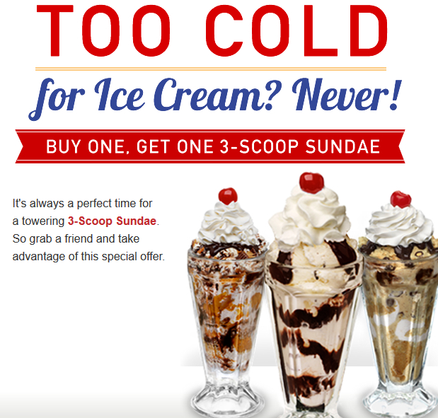 image regarding Friendly's Ice Cream Coupons Printable Grocery identified as FRIENDLYS $$ Reminder: Coupon for BOGO Cost-free 3-Scoop Sundae